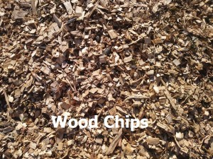 wood chips with label