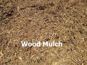 wood mulch with label